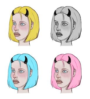角のあるさまざまな色の短い髪の少女の肖像画のセット