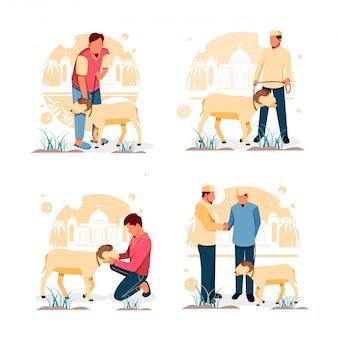 Набор портрет человека с козлом. для ид аль-адха плоский дизайн концепции. иллюстрация