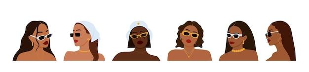 선글라스를 쓴 다양한 여성의 초상화. 여성의 여름 모습입니다.