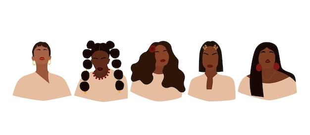 얼굴 없는 여성의 초상화 세트입니다. 다른 헤어스타일을 가진 추상적인 흑인 소녀들의 컬렉션입니다. 유행 최소한의 벡터 일러스트 레이 션 흰색 배경에 고립입니다.