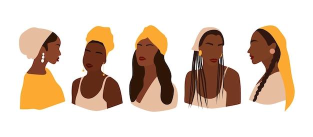 다른 모자에 얼굴 없는 여성의 초상화 세트입니다. 추상적인 여자의 컬렉션입니다. 유행 최소한의 벡터 일러스트 레이 션 흰색 배경에 고립입니다.