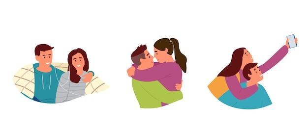 Набор портретов молодых пар в любви. обниматься, делать селфи, слушать музыку под пледом. изолированный на белизне.