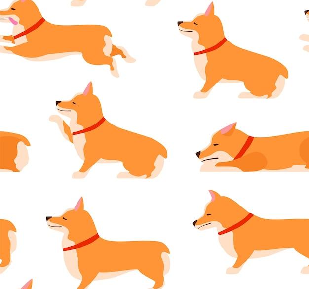 Набор позы и эмоции собака бесшовные модели. набор вельш-корги. учите собаку. останься, подожди, сядь. плоские векторные иллюстрации.