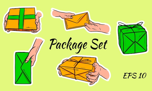 郵便小包のセット。パッケージは手元にあります。封筒は手から手へと渡されます。