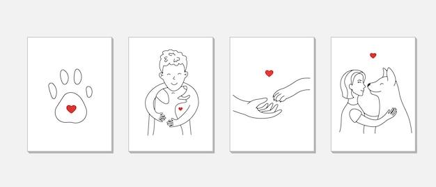 人々が犬を愛するポストカードのセット。動物と幸せなペットの飼い主