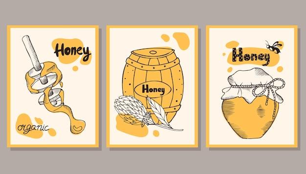 꿀 엽서 세트입니다. 삽화