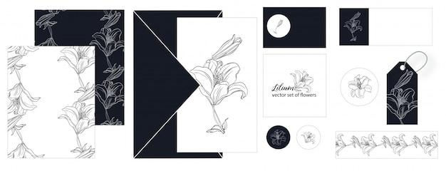 ユリの花のポストカードのセット。
