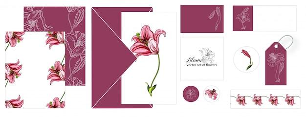 Набор открыток с цветами лилии