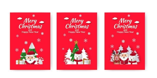 Набор плакатов объявления с рождеством и новым годом с милой иллюстрацией красном фоне
