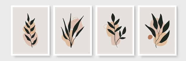 Набор плакатов в стиле минимализма бохо с тропическими листьями. современный абстрактный декор стен с рисунком листвы