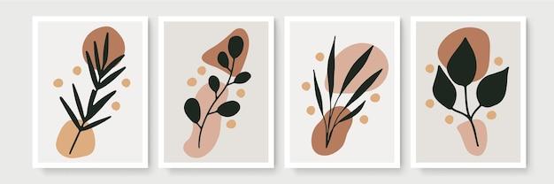 熱帯の葉と最小限の自由奔放に生きるスタイルのポスターのセット。葉の線画の描画とモダンな抽象的な壁の装飾