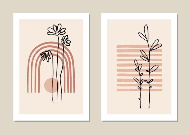 熱帯の葉と最小限のスタイルのポスターのセット