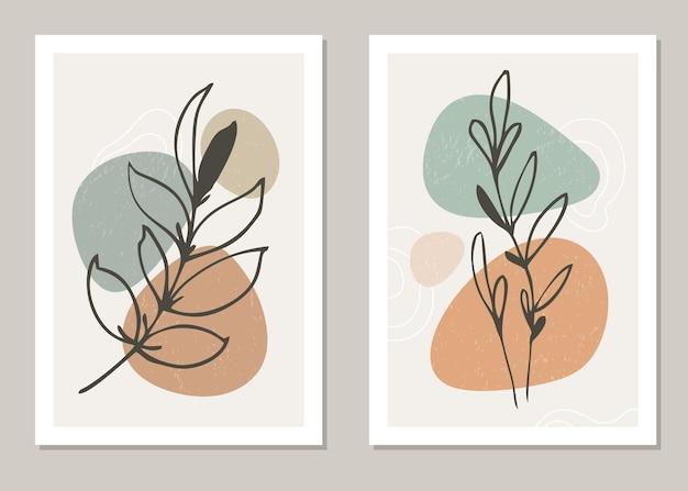Набор плакатов в минималистском стиле с тропическим листом