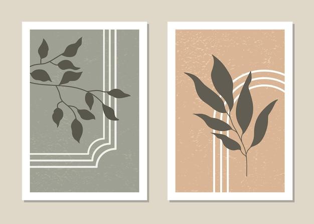 열대 잎 최소한의 스타일로 포스터 세트