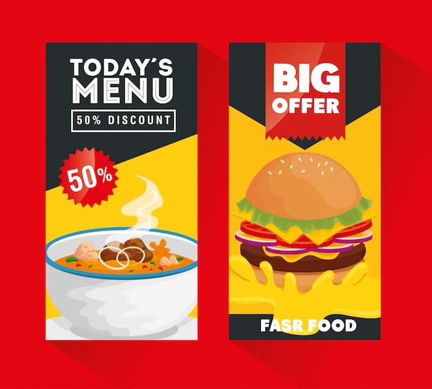 Набор плакатов предлагают вкусные блюда быстрого приготовления