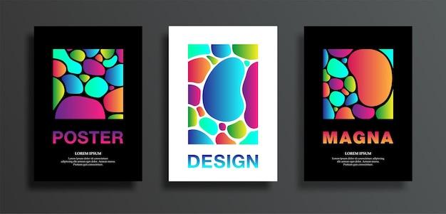 Набор плакатов или обложек с красочными формами плазменных капель