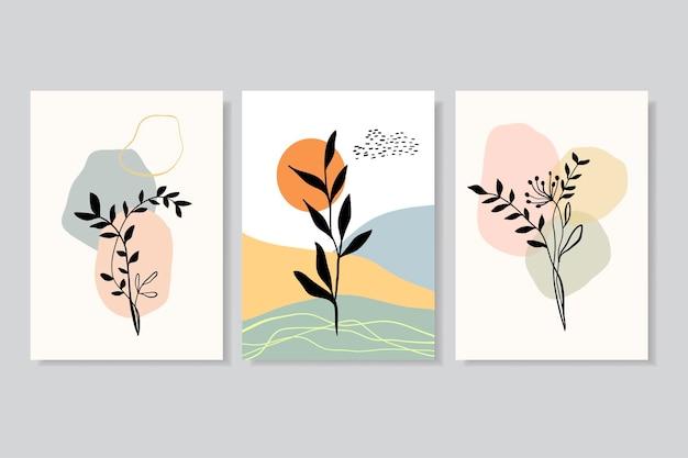 다른 잎을 가진 포스터 벽의 세트