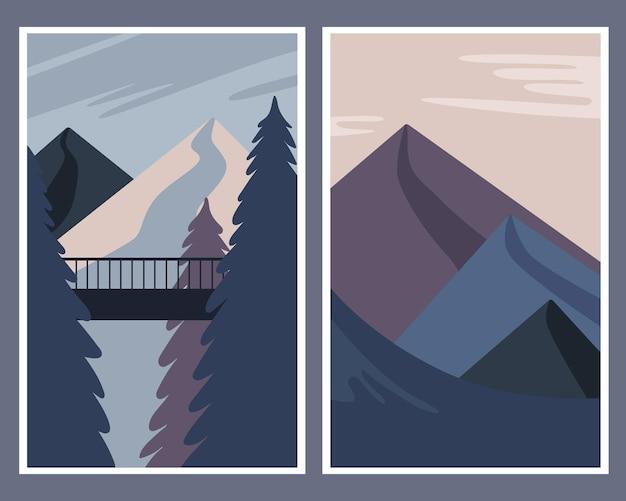 Набор плакатов с зимним пейзажем.