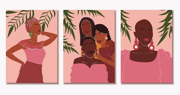 Набор плакатов с красивыми африканскими женщинами современного искусства