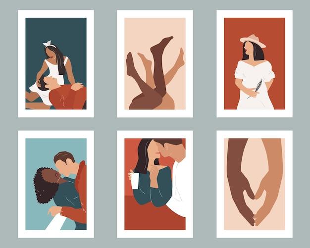 Набор плакатов с влюбленными парами. минимализм.