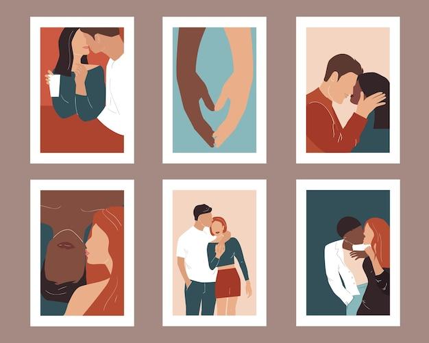愛のカップルとポスターのセット