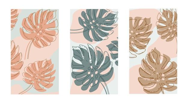 식물과 추상적인 모양, 현대적인 그래픽 디자인의 요소가 있는 포스터 세트. 벽 인쇄, 캔버스 인쇄, 포스터, 가정 장식을 위한 유기적인 모양의 수제 디자인. 벡터 일러스트 레이 션.