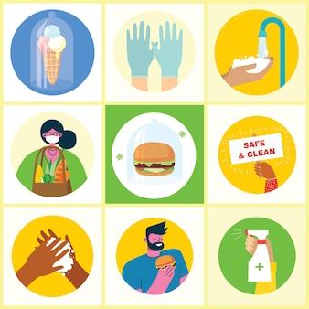 손으로 씻은 포스터 세트는 바이러스 의료 목적의 삽화 세트로 보호되는 깨끗한 식사를 씻었습니다.