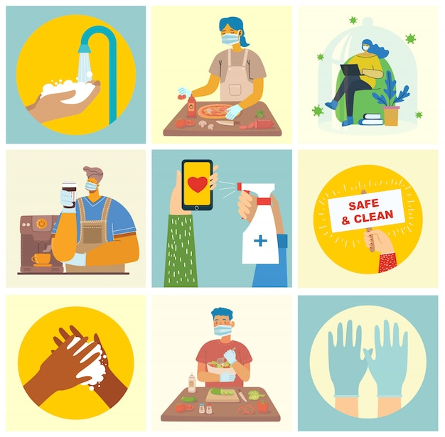 きれいに洗った手でポスターのセット。ウイルスから保護された食事。イラストの医療目的セット。モダンなフラットスタイルのイラスト。コロナウイルス保護の概念。
