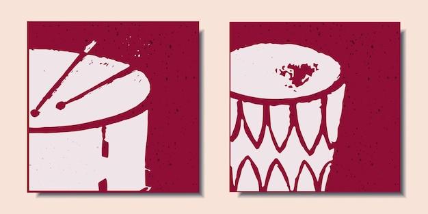 빨간색 배경 드럼에 악기가 있는 포스터 세트