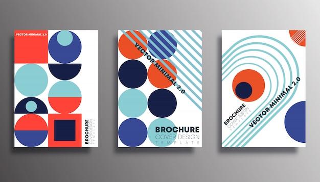 レトロな幾何学的図形デザインのポスターのセット