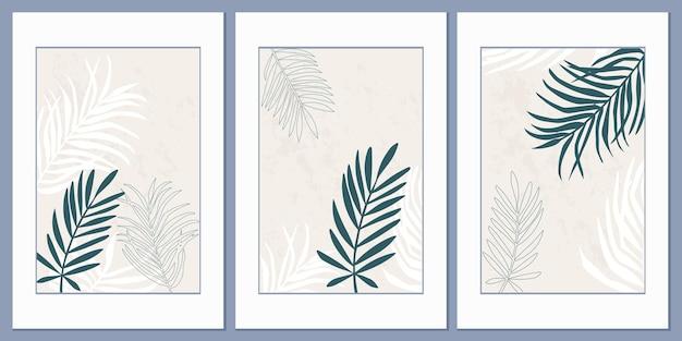ベージュの背景に熱帯のヤシの葉とポスターのセット