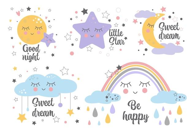 아기 방 장식을위한 포스터 노란색 졸린 달 핑크 스타 구름 세트 어린이 벽 예술 디자인. 프리미엄 벡터