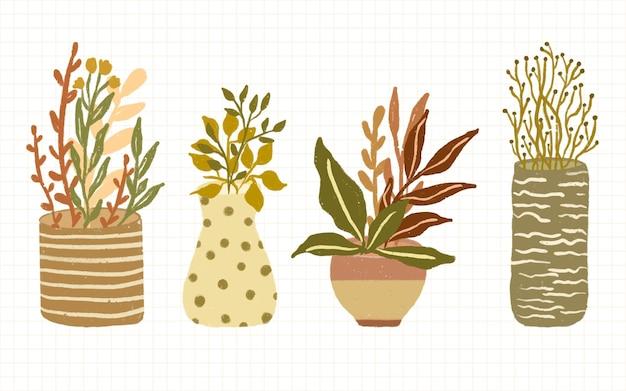 Набор абстрактных минималистичных украшений горшечных растений для настенной иллюстрации
