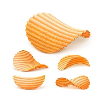 감자 리플 파삭 파삭 칩 세트 가까이 격리됨에