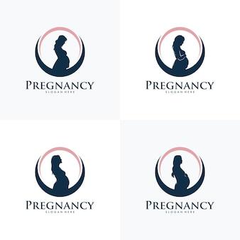 Набор шаблонов вектора дизайна логотипа беременности