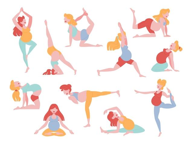 ヨガの練習をしている妊娠中の女性のセット。妊娠中のフィットネスとスポーツ。健康的なライフスタイルとリラクゼーション。漫画のスタイルのイラスト