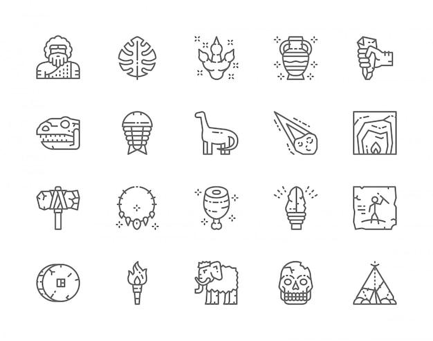 선사 시대 시대 라인 아이콘의 집합입니다. 열대 야자 잎, 공룡, 운석, 원시 도끼, 토치 불꽃, 맘모스 등.