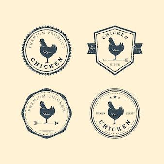 Набор премиальных куриных значков. куриный логотип.