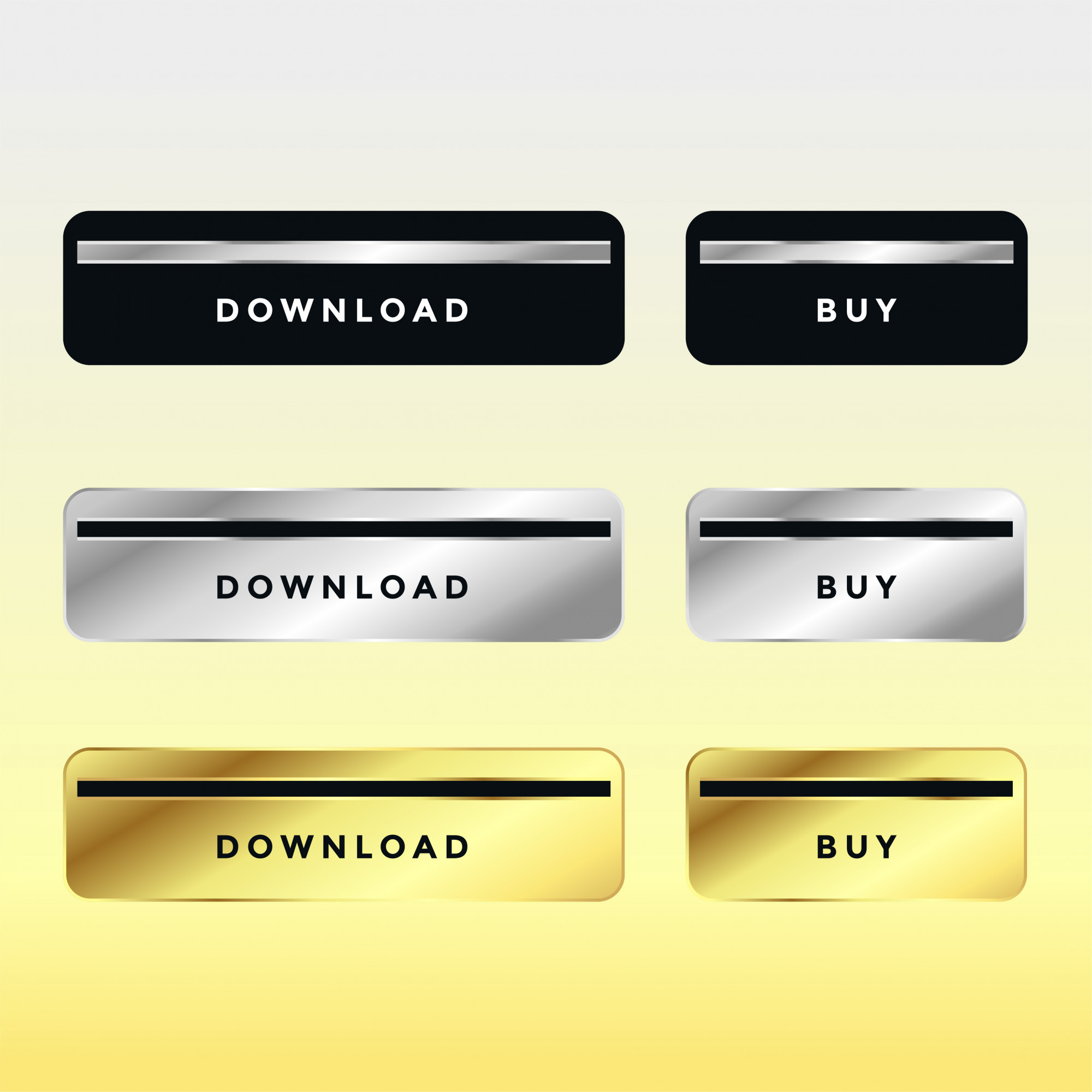Set of premium download and buy metal buttons