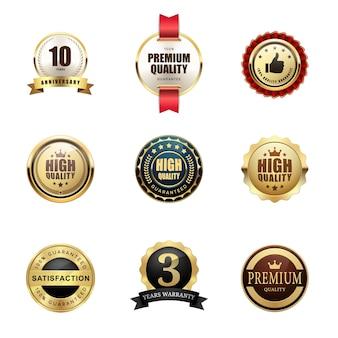 プレミアム品質保証バッジ賞ロゴの光沢のあるメタリックな豪華セット