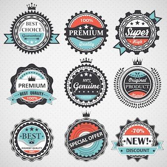 プレミアム品質、保証付き、本物のバッジ、レトロな要素のセット