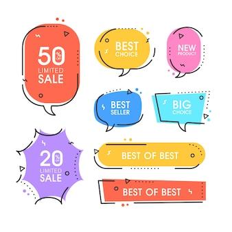 プレミアム品質のラベルのセット。ショッピング、eコマース、製品プロモーション、ソーシャルメディアステッカー、マーケティングのモダンなイラストラベル。