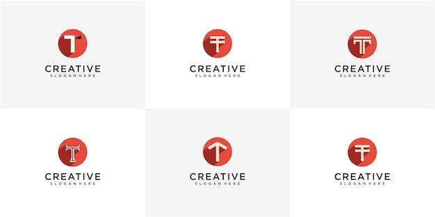 2つのカラーバリエーションのプレミアムベクトルtロゴのセット。高級企業のブランディングのための美しいロゴタイプのデザイン