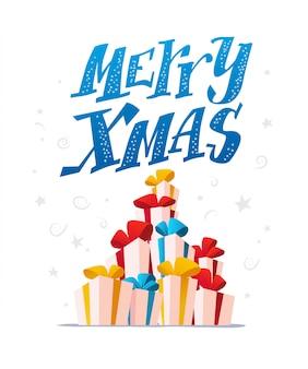 Набор подарочных коробок на белом фоне. с новым годом, рождеством, рождественский элемент украшения. подходит для поздравительной открытки, живодер. мультяшном стиле