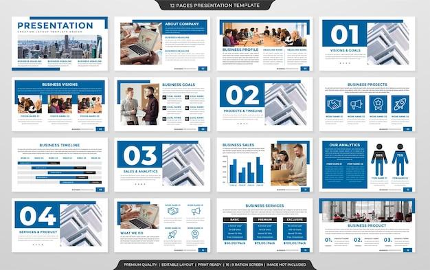年次報告書とインフォグラフィックのためのミニマリストスタイルとすっきりとしたレイアウト使用のプレゼンテーションレイアウトテンプレートデザインのセット