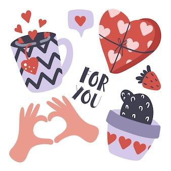 발렌타인 데이 카드에 대한 사전 설정 집합입니다. 카푸치노, 선인장, 심장.