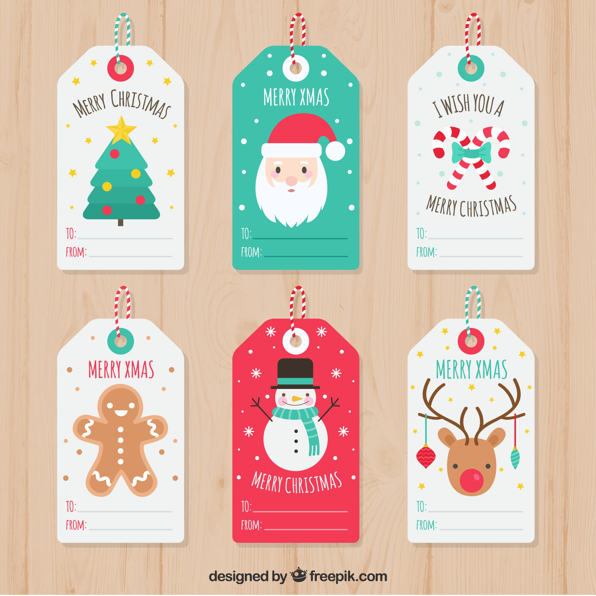 Set of pretty christmas tags