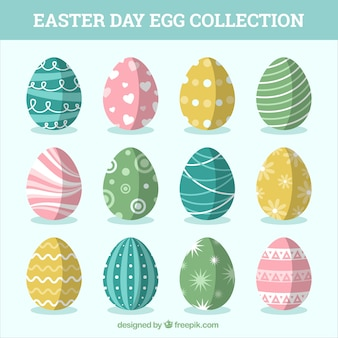 Set of pretty easter eggs