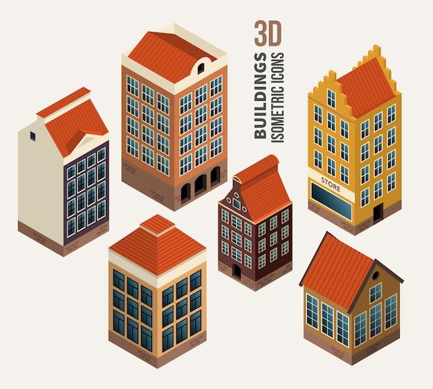 예쁜 집, 건축 아이소 메트릭 3d 벡터 건물의 집합입니다. 아이콘 및 기호, 아파트 블록. 벡터 일러스트 레이 션