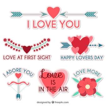 Набор красивых наклейки любви с сообщениями